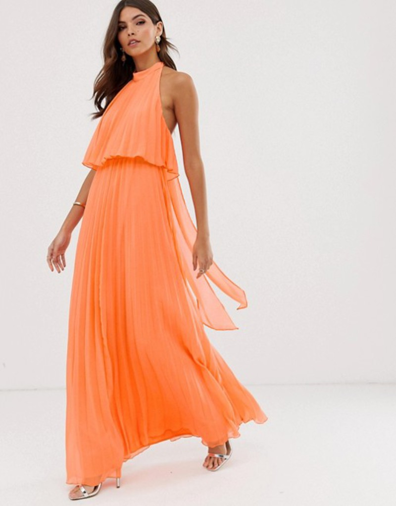 エイソス レディース ワンピース トップス ASOS DESIGN halter tie neck maxi dress in pleat Orange