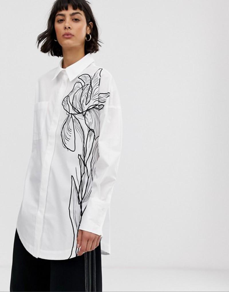 エイソス レディース シャツ トップス ASOS WHITE sketch print floral shirt White