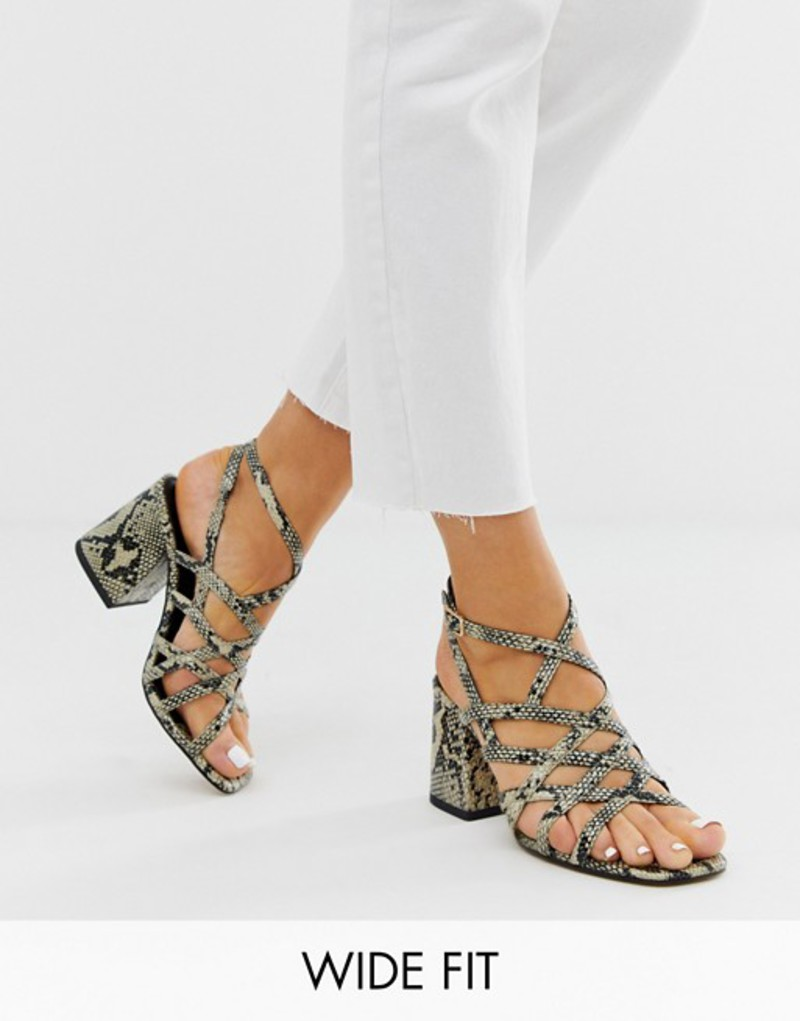 エイソス レディース サンダル シューズ ASOS DESIGN Wide Fit Winning strappy block heeled sandals in natural snake Natural snake