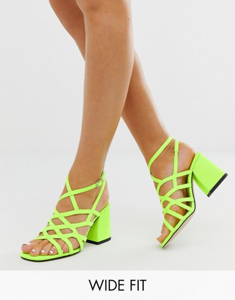エイソス レディース サンダル シューズ ASOS DESIGN Wide Fit Winning strappy block heeled sandals in neon yellow Neon yellow
