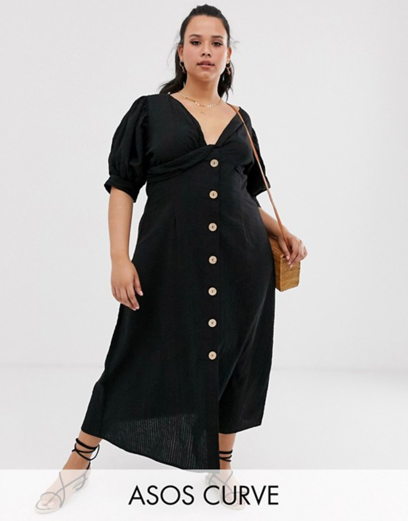 エイソス レディース ワンピース トップス ASOS DESIGN Curve button through twist front maxi tea dress in seersucker Black