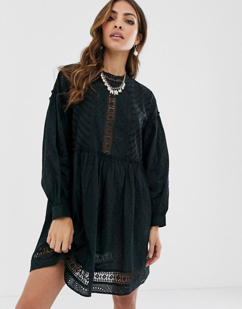 エイソス レディース ワンピース トップス ASOS DESIGN dobby high neck mini smock dress with lace trims Black