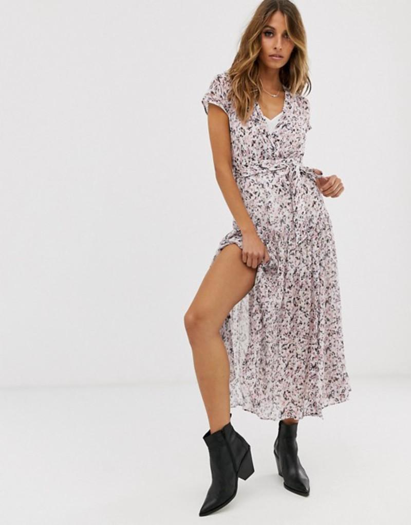 オールセインツ レディース ワンピース トップス AllSaints alix freefall floral midi dress with split Chalk white