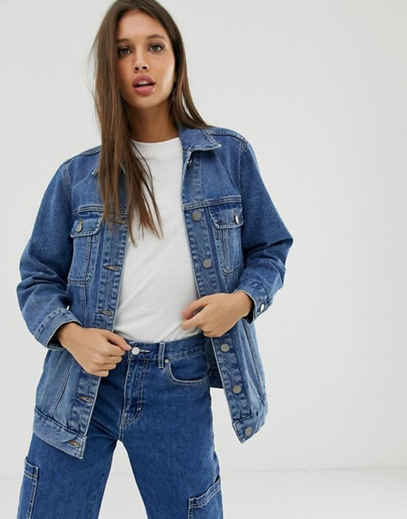 エイソス レディース ジャケット・ブルゾン アウター ASOS DESIGN denim girlfriend jacket in washed blue Washed blue