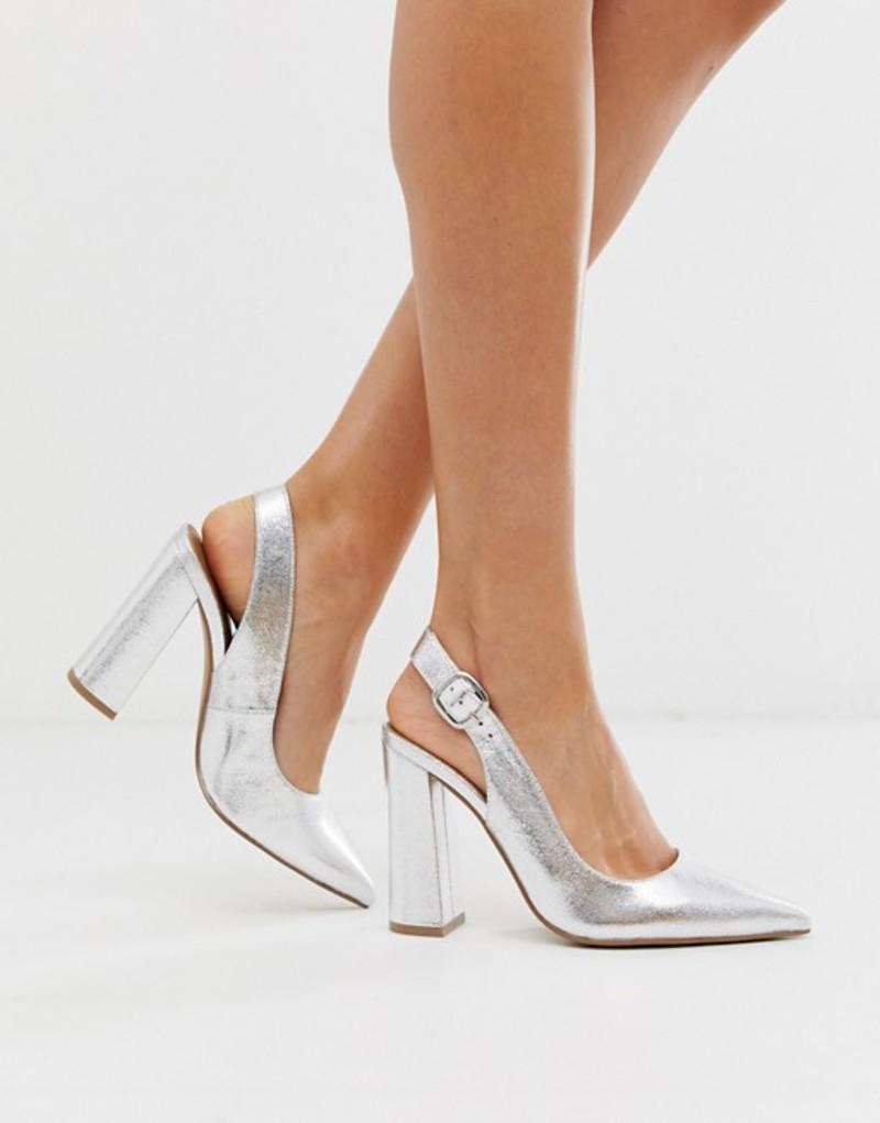 エイソス レディース ヒール シューズ ASOS DESIGN Penley slingback high block heels in silver Silver