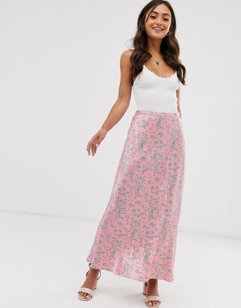 ゴースト レディース スカート ボトムス Ghost Lizzie distsy floral print satin midi skirt Pink & green floral