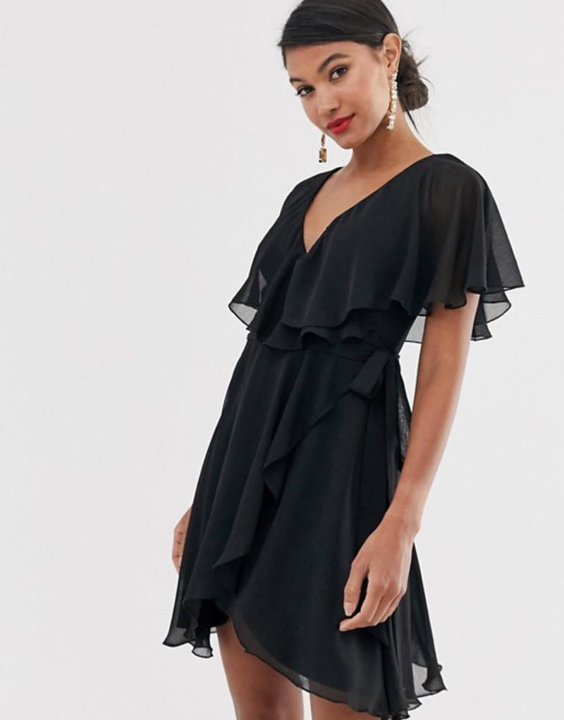 エイソス レディース ワンピース トップス ASOS DESIGN cape back dipped hem mini dress Black