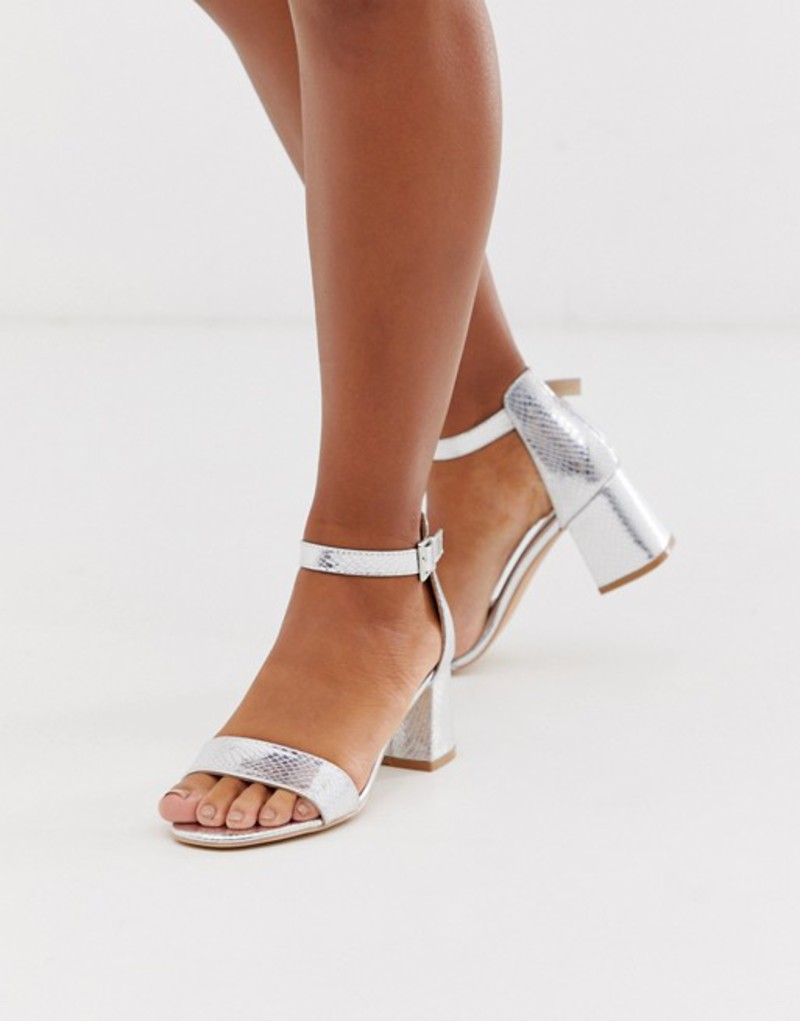 グラマラス レディース サンダル シューズ Glamorous silver snake embossed block heeled sandals Snake silver