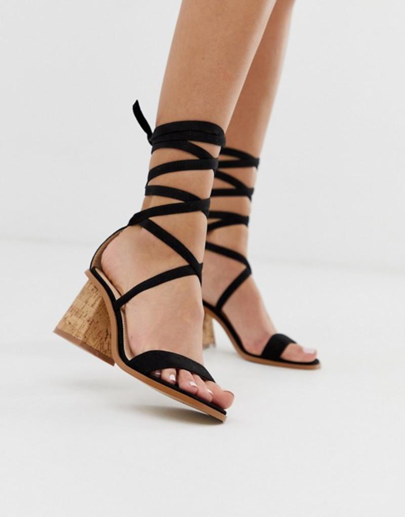 パブリックデザイア レディース サンダル シューズ Public Desire Vogue black ankle tie cork heeled sandals Black suede