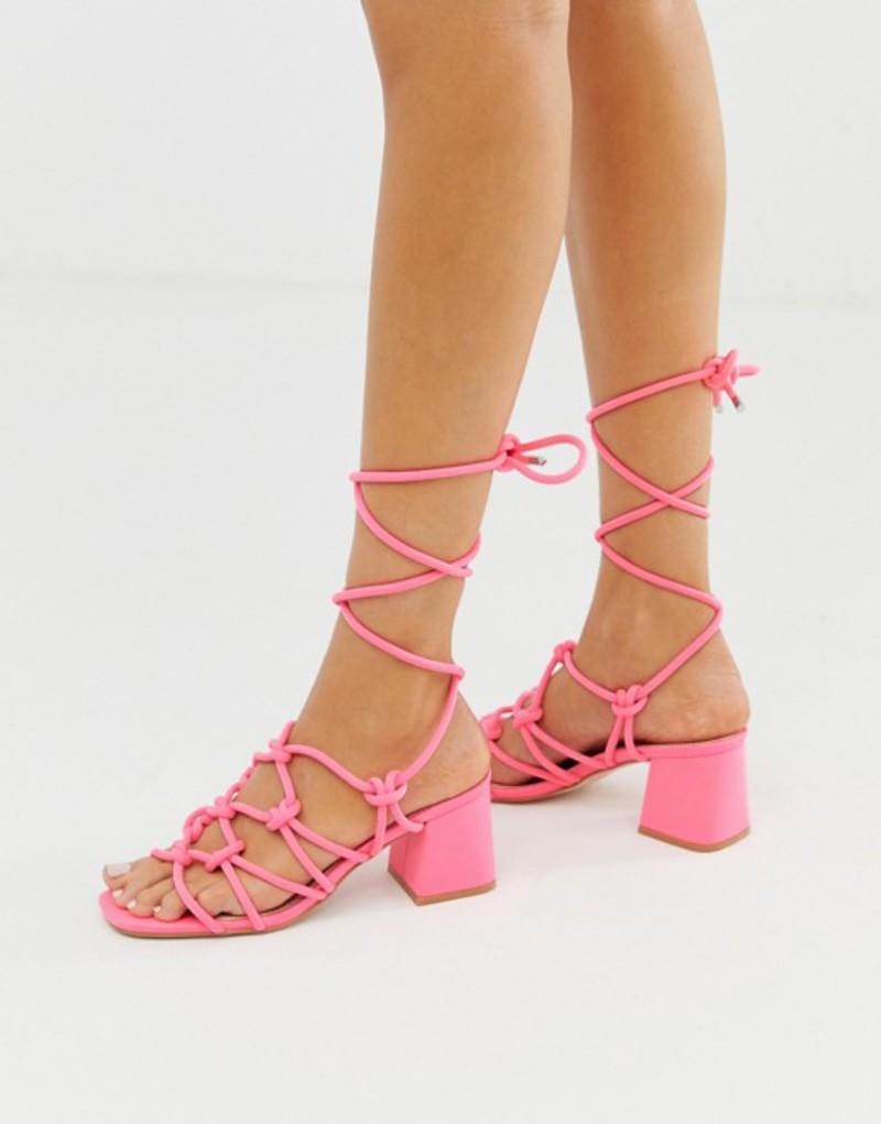 パブリックデザイア レディース サンダル シューズ Public Desire Freya bright pink ankle tie mid heeled sandals Bright pink lycra