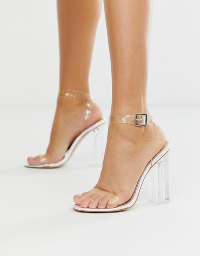 パブリックデザイア レディース サンダル シューズ Public Desire Alia iridescent clear heeled sandals Iridescent