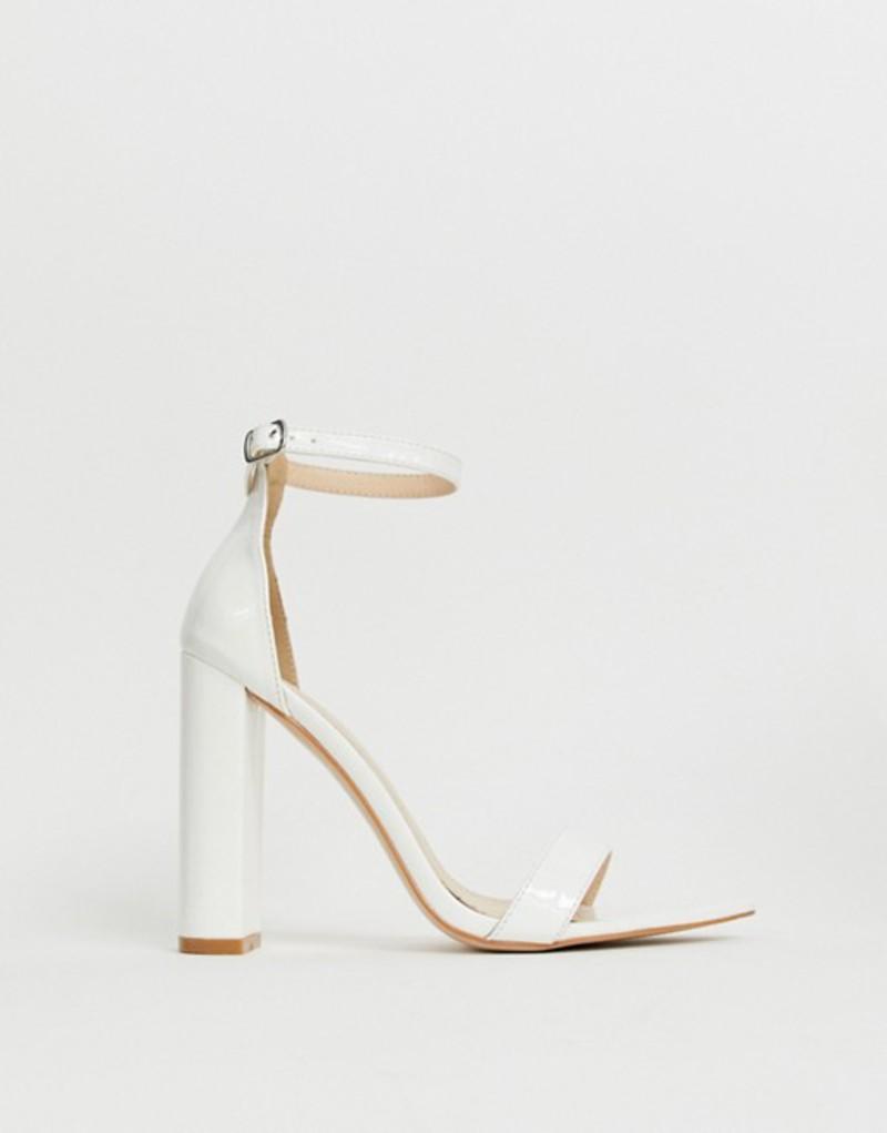 パブリックデザイア レディース サンダル シューズ Public Desire Miao white patent block heeled sandals White patent