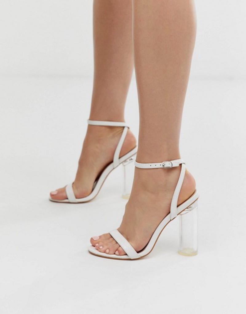 パブリックデザイア レディース サンダル シューズ Public Desire Blink clear heel barely there sandals in white mock croc White croc