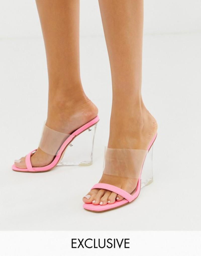パブリックデザイア レディース サンダル シューズ Public Desire Exclusive Amadea bright pink clear wedge sandals Bright pink lycra