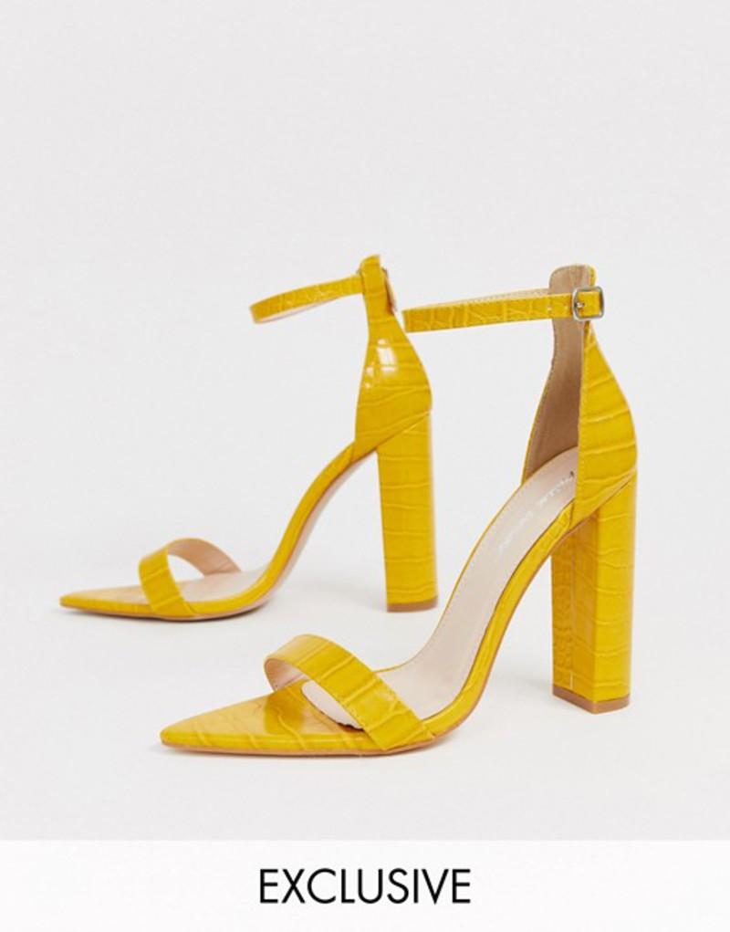 パブリックデザイア レディース サンダル シューズ Public Desire Exclusive Miao heeled sandal in yellow croc Yellow croc