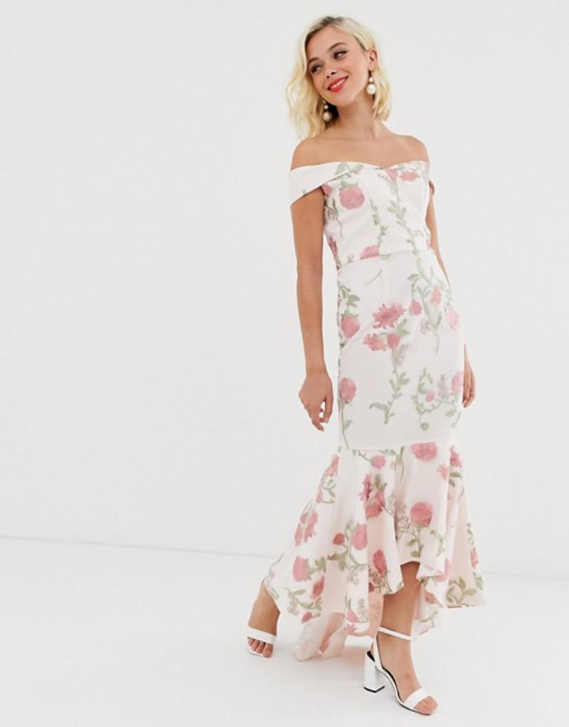 チチロンドン レディース ワンピース トップス Chi Chi London bardot fishtail maxi dress in floral embroidery Floral
