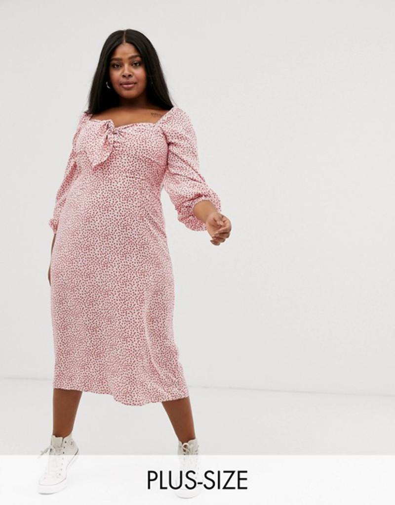 グラマラス レディース ワンピース トップス Glamorous Curve tie front midaxi dress with volume sleeves in vintage floral Pink vintage floral