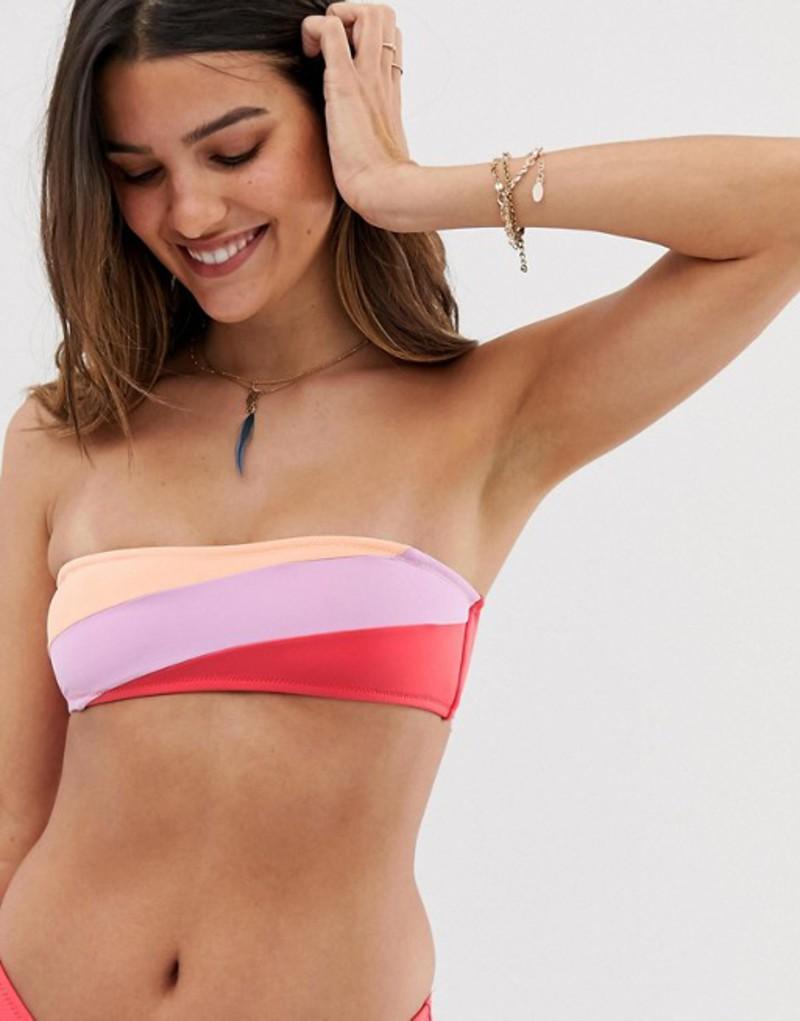 リズム レディース トップのみ 水着 Rhythm North Shore bandeau bikini top in stripe Multi