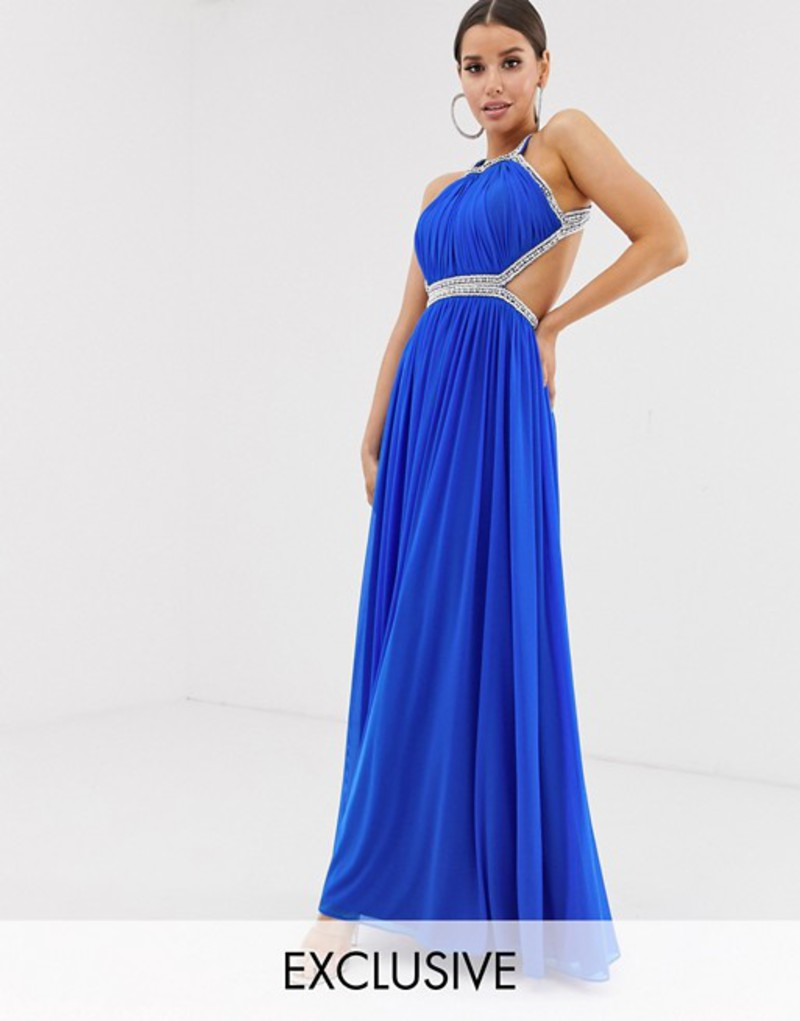フォーエバーユニーク レディース ワンピース トップス Forever Unique Exclusive embellished maxi gown with open back in cobalt Cobalt