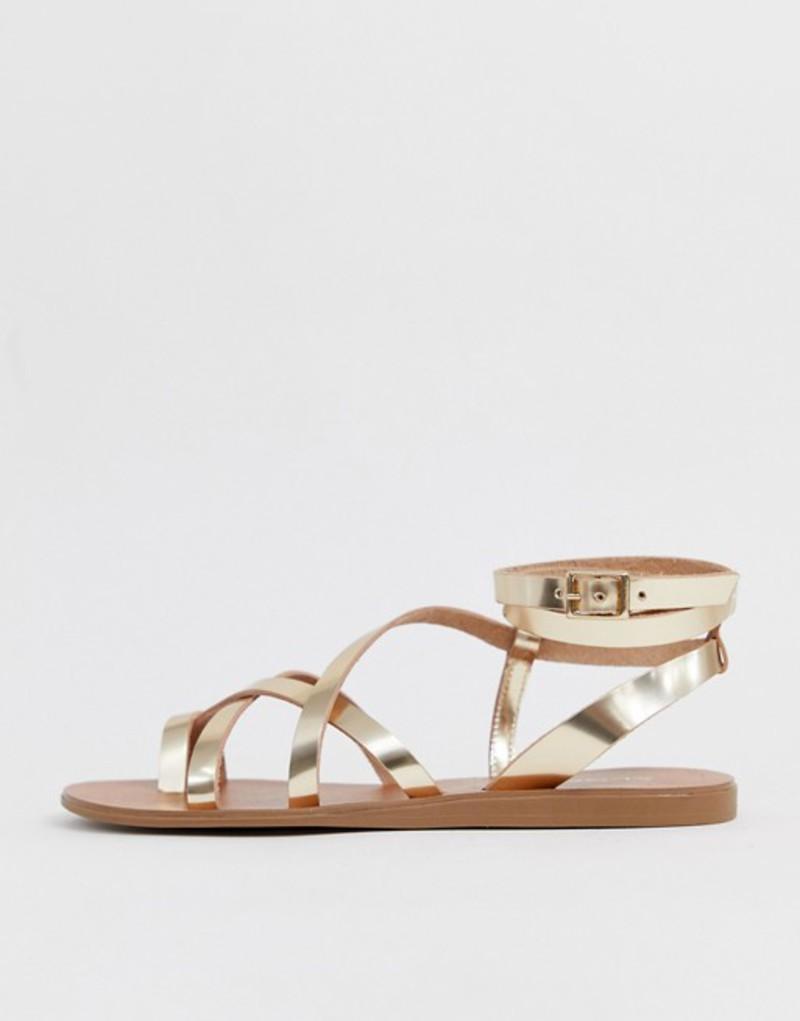 アルド レディース サンダル シューズ ALDO Gludda leather strappy toe loop sandal in gold Gold leather