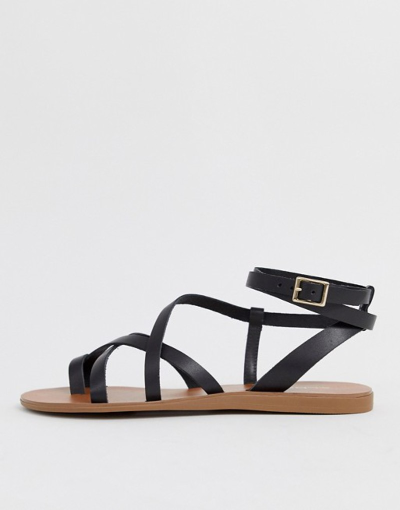 アルド レディース サンダル シューズ ALDO Gludda leather strappy toe loop sandal in black Black leather