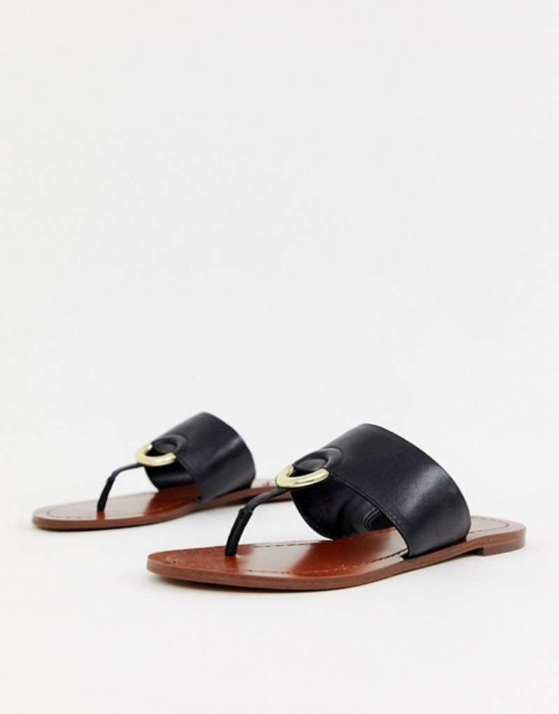 アルド レディース サンダル シューズ ALDO Ocericia leather ring post sandals in black Black leather