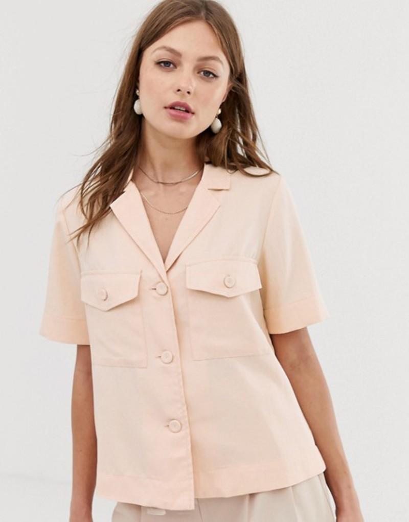 マンゴ レディース シャツ トップス Mango pocket front shirt in pink Pink