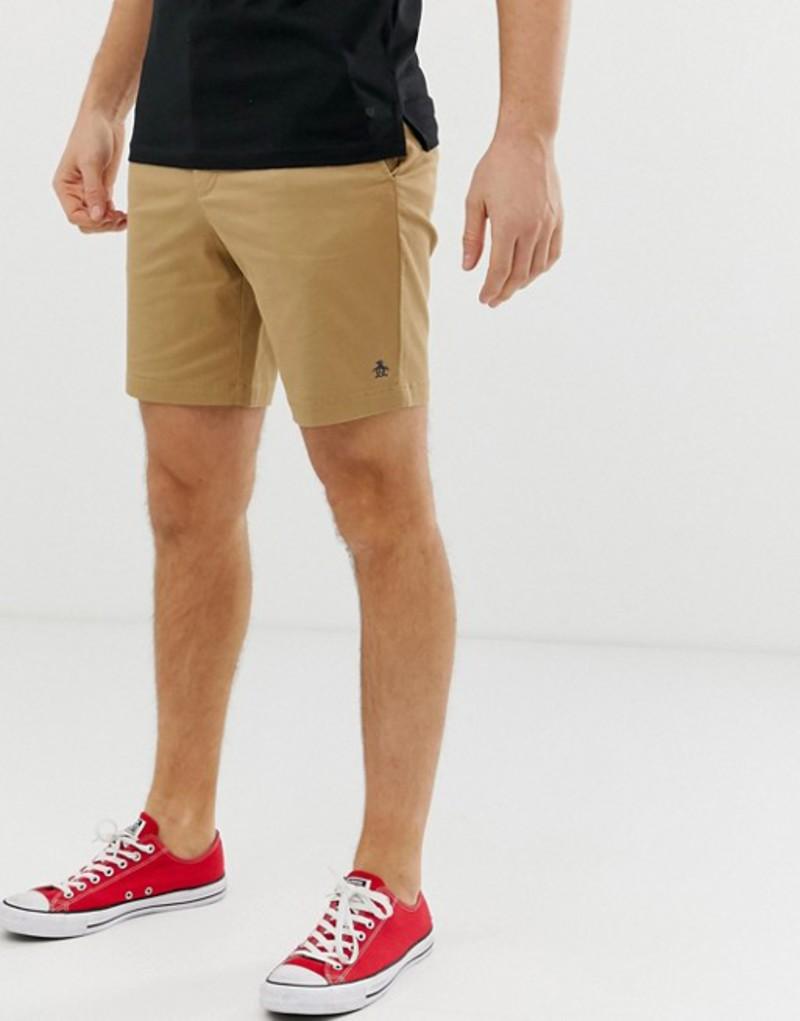 オリジナルペンギン メンズ ハーフパンツ・ショーツ ボトムス Original Penguin slim fit stretch chino shorts in beige Kelp