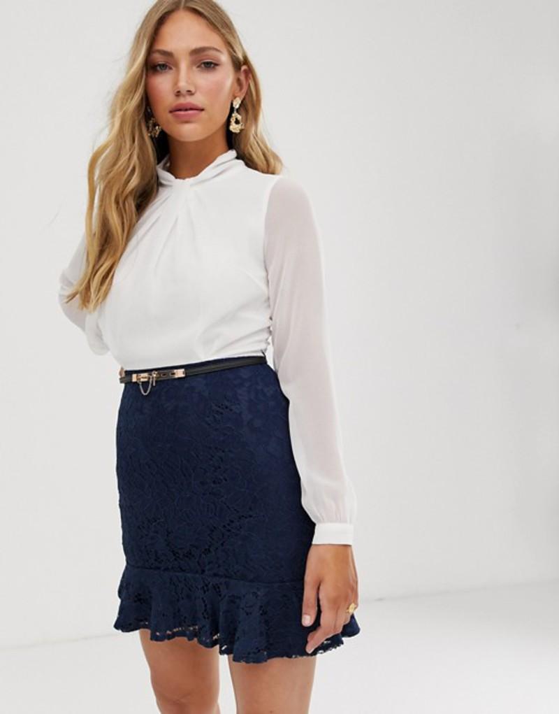 ペーパードールズ レディース ワンピース トップス Paper Dolls 2-in-1 dress with lace skirt and flippy hem in white and navy Multi