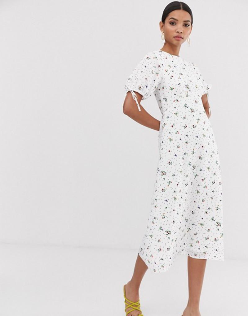 ファッションモンキー レディース ワンピース トップス Fashion Union midi tea dress in floral Dotty floral