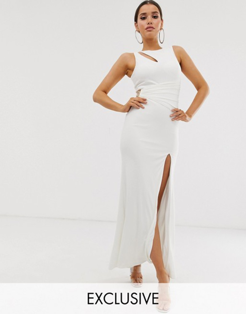 フォーエバーユニーク レディース ワンピース トップス Forever Unique Exclusive maxi gown with cut out details and thigh split in white White