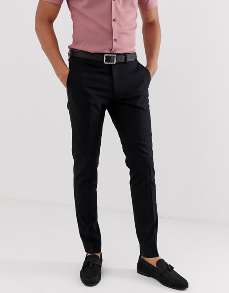 ジャック アンド ジョーンズ メンズ カジュアルパンツ ボトムス Jack & Jones Intelligence slim fit smart pants in black Black