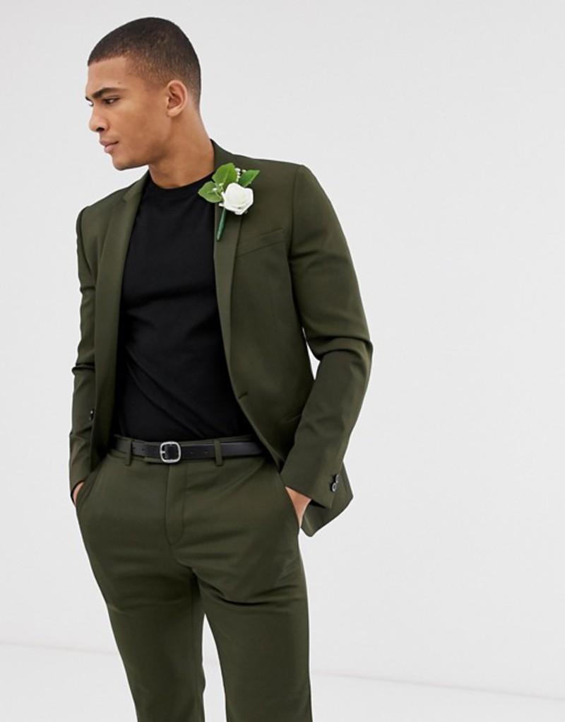 リバーアイランド メンズ ジャケット・ブルゾン アウター River Island suit jacket in khaki Khaki