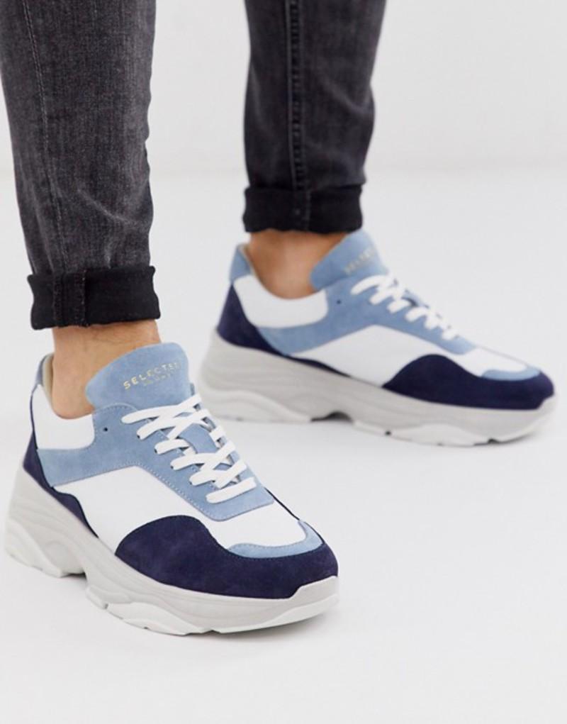 セレクテッドオム メンズ スニーカー シューズ Selected Homme premium leather chunky sneaker in blue Blue shadow