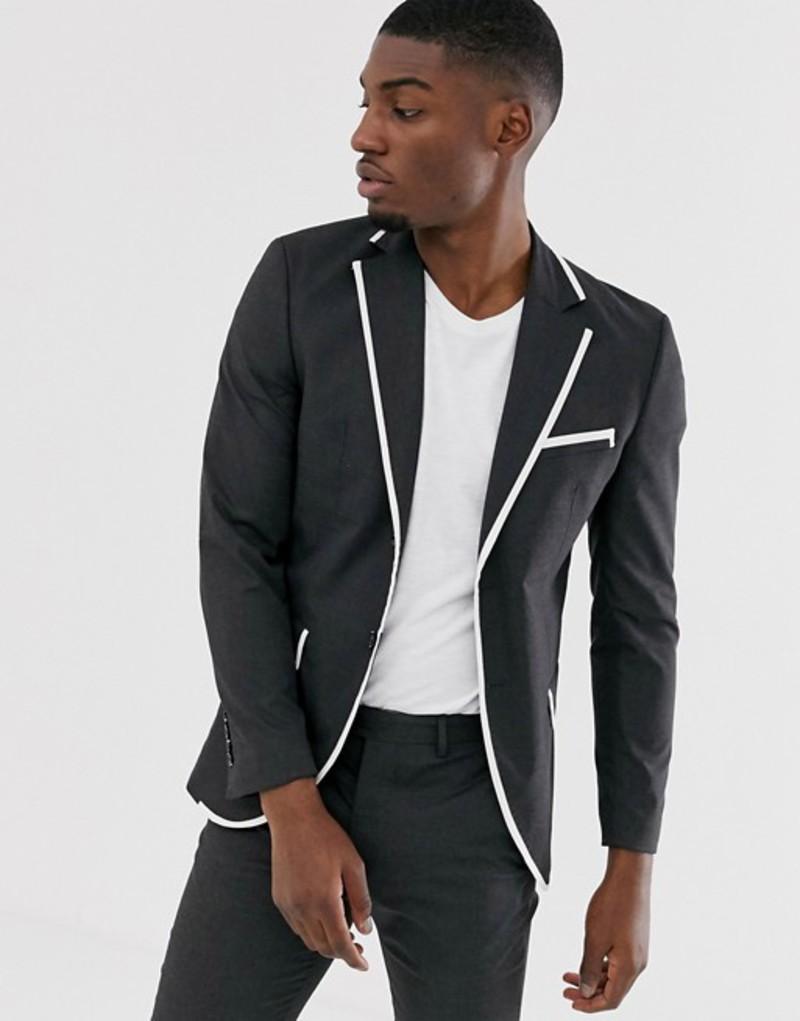 ジャック アンド ジョーンズ メンズ ジャケット・ブルゾン アウター Jack & Jones Premium skinny fit tipped suit jacket in gray Dark grey