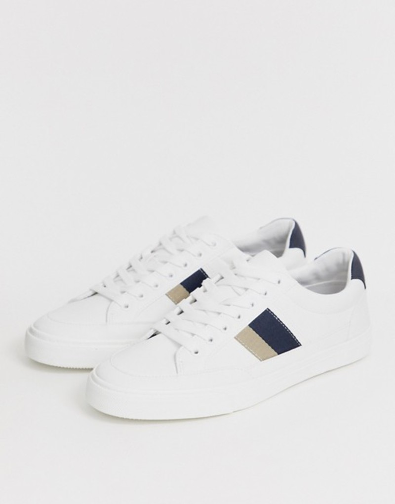 プルアンドベアー メンズ スニーカー シューズ Pull&Bear sneakers with double side stripe detailing in white White