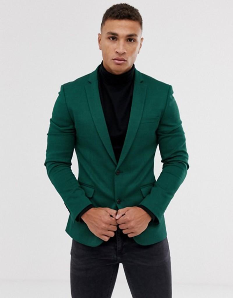 エイソス メンズ ジャケット・ブルゾン アウター ASOS DESIGN super skinny wool mix blazer in green Green