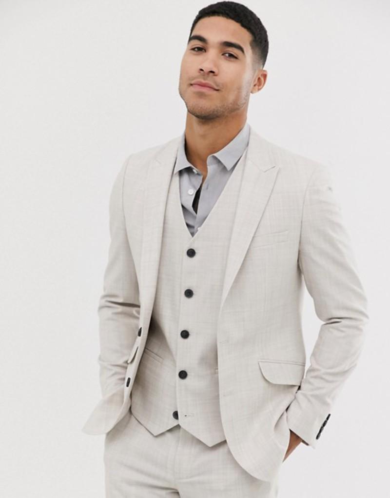 エイソス メンズ ジャケット・ブルゾン アウター ASOS DESIGN wedding skinny suit jacket in taupe cross hatch Beige