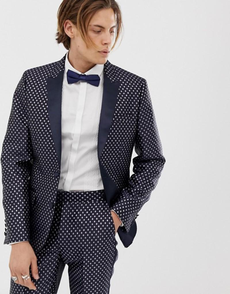 エイソス メンズ ジャケット・ブルゾン アウター ASOS DESIGN skinny tuxedo prom suit jacket in navy diamond jacquard Navy