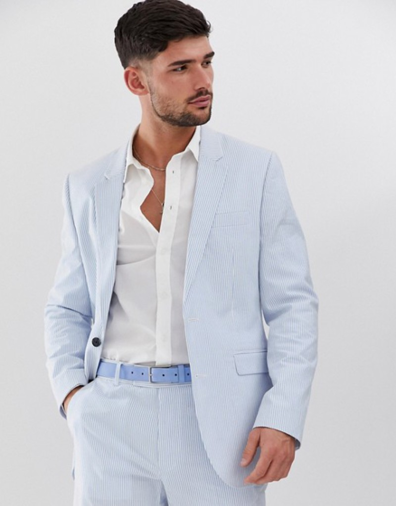 エイソス メンズ ジャケット・ブルゾン アウター ASOS DESIGN slim suit jacket in cotton seersucker with blue and white stripe Blue