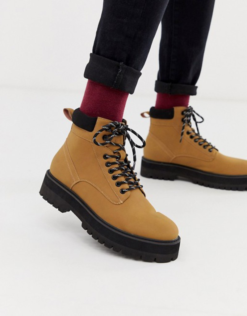エイソス メンズ ブーツ・レインブーツ シューズ ASOS DESIGN lace up boots in tan faux leather with contrast black sole Tan