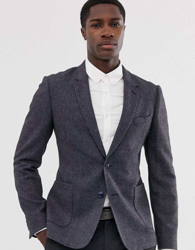 エイソス メンズ ジャケット・ブルゾン アウター ASOS DESIGN skinny blazer in slate blue wool mix Slate blue
