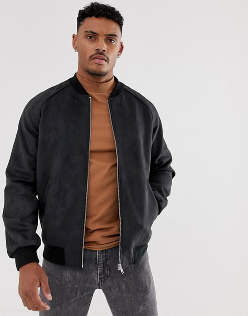エイソス メンズ ジャケット・ブルゾン アウター ASOS DESIGN faux suede bomber jacket in black Black