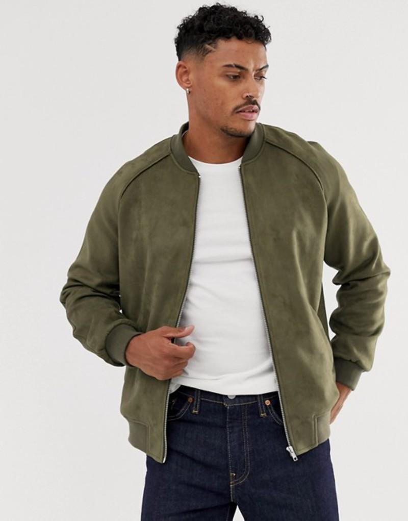 エイソス メンズ ジャケット・ブルゾン アウター ASOS DESIGN faux suede bomber jacket in khaki Khaki