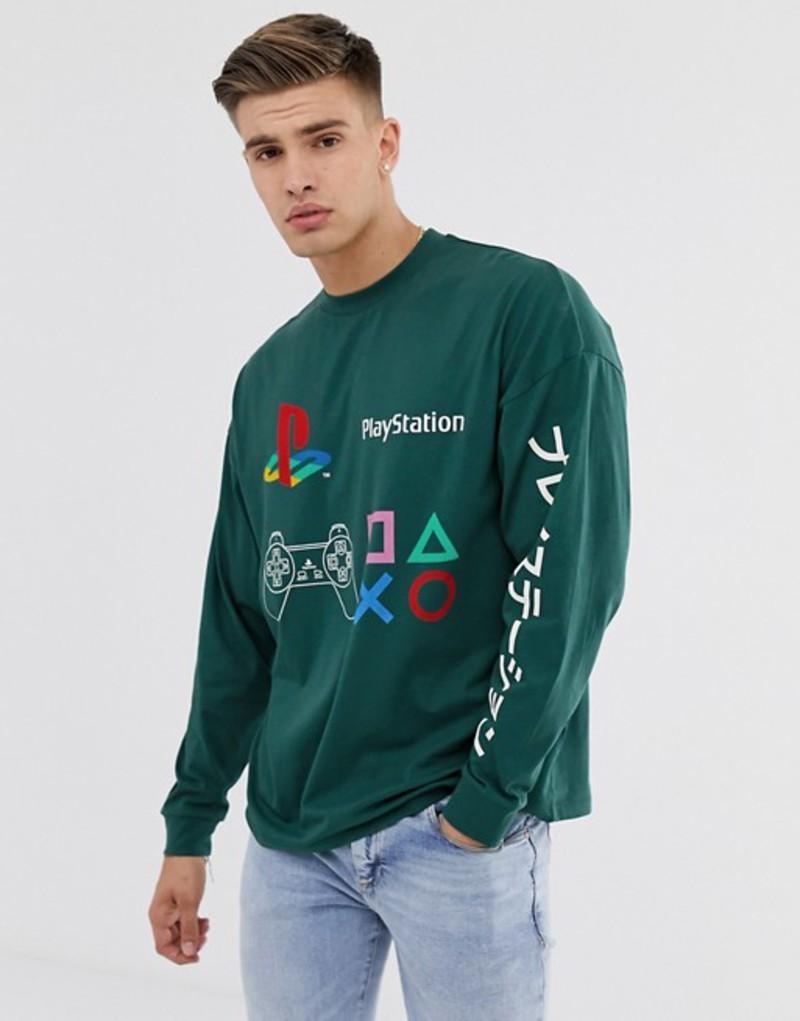 エイソス メンズ Tシャツ トップス ASOS DESIGN Playstation oversized long sleeve t-shirt with chest and sleeve placement print June bug