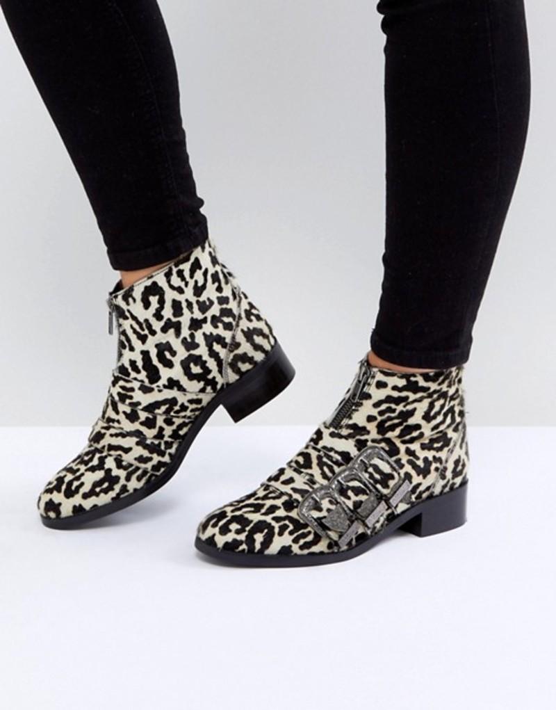 エイソス レディース ブーツ・レインブーツ シューズ ASOS ALL FOR IT Leather Buckle Ankle Boots Multi