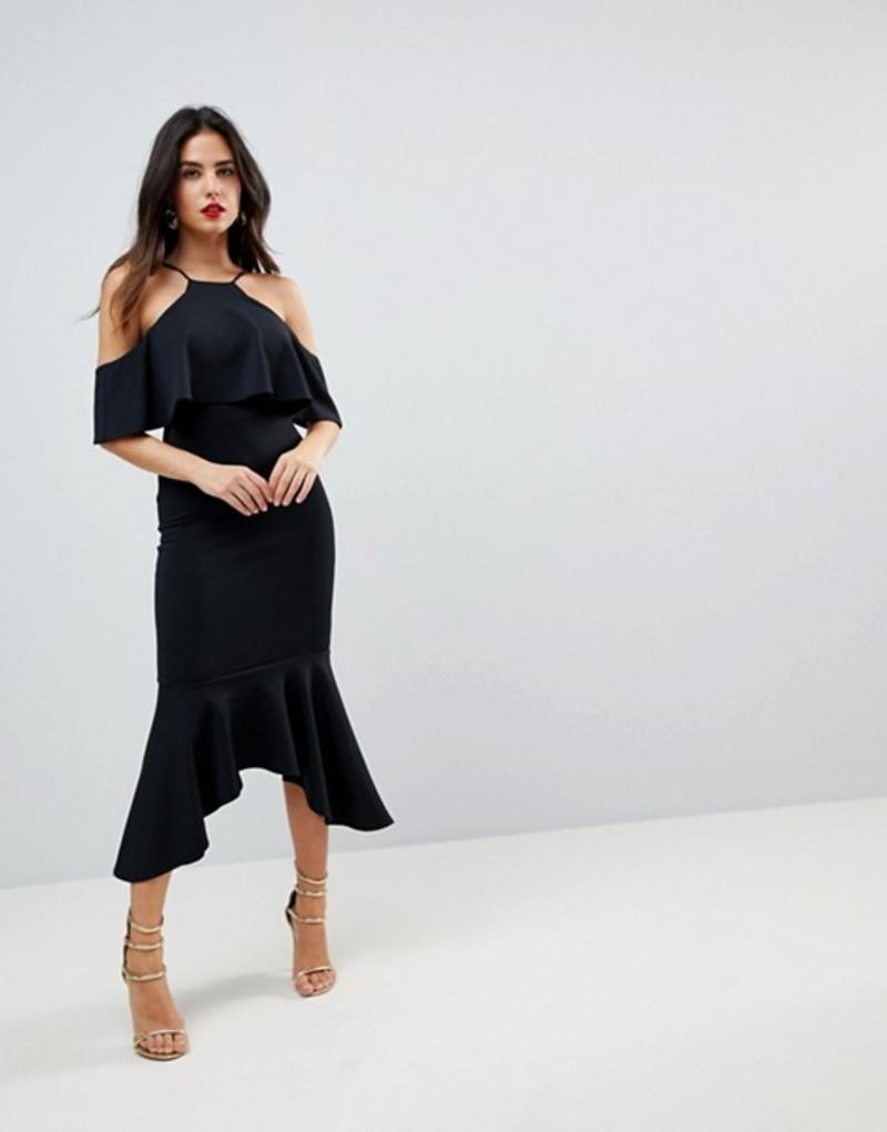 エイソス レディース ワンピース トップス ASOS Ruffle Cold Shoulder Asymmetric Pephem Midi Dress Black
