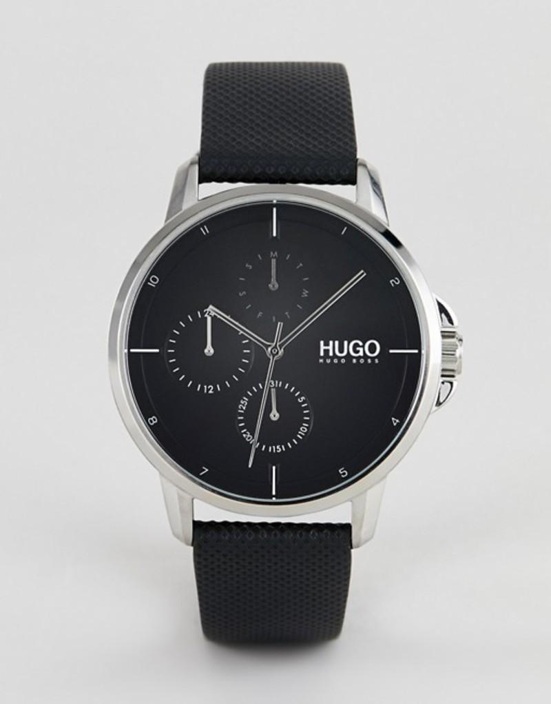 フューゴ メンズ 腕時計 アクセサリー HUGO 1530022 Focus black dial leather strap watch in black Black