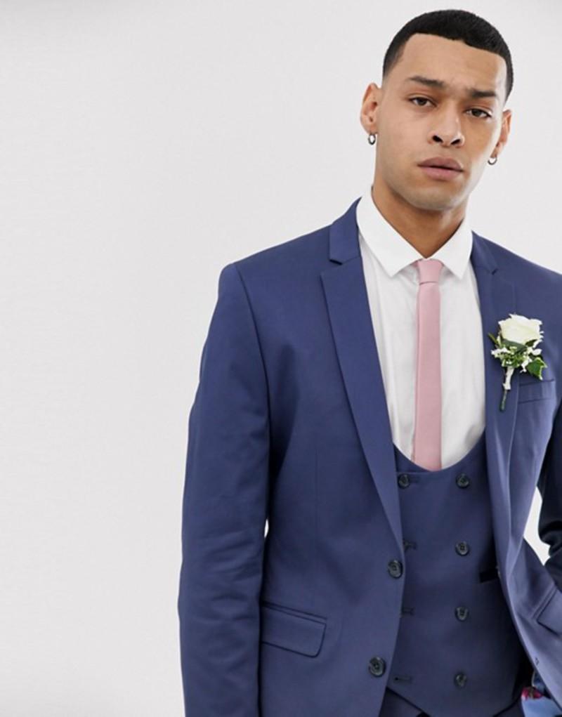 エイソス メンズ ジャケット・ブルゾン アウター ASOS DESIGN wedding super skinny suit jacket in stretch cotton in indigo blue Blue