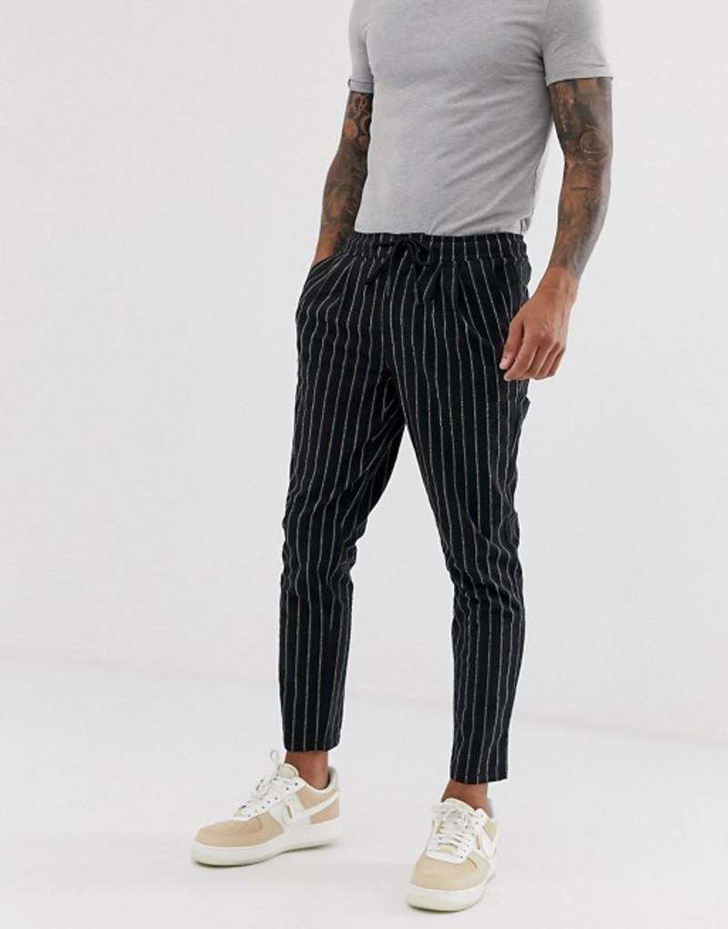 エイソス メンズ カジュアルパンツ ボトムス ASOS DESIGN cigarette pants in textured stripe Black